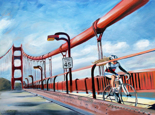 Bike Racing Painting - Golden Gate Bike Girl by Colleen Proppe