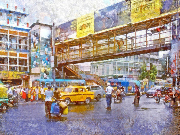 Digital Art - Crossing The Street In Kolkata by Digital Photographic Arts