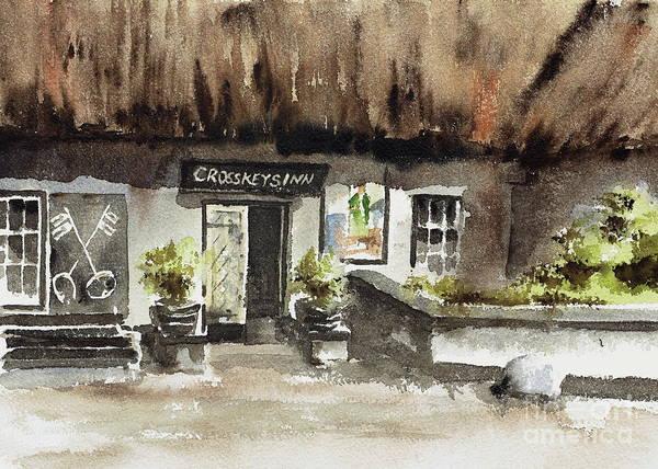 Painting - Crosskeys Inn Toombridge  Antrim by Val Byrne
