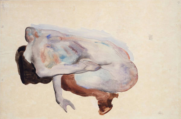 Light Blue Drawing - Crouching Nude In Shoes And Black Stockings. Back View by Egon Schiele