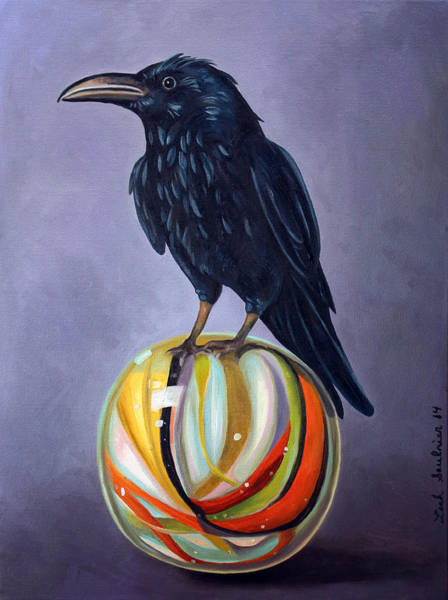 Wall Art - Painting - Crow On Marble Edit 2 by Leah Saulnier The Painting Maniac