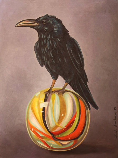 Wall Art - Painting - Crow On Marble by Leah Saulnier The Painting Maniac