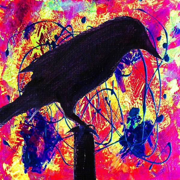 Wall Art - Painting - Crow On Red by Nancy Merkle