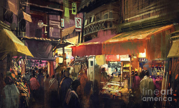 Buildings Digital Art - Crowd Of People Walking In The Market by Tithi Luadthong