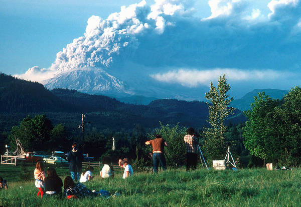 Wall Art - Photograph - Crowd Watching Mount St. Helens Eruption by Thomas And Pat Leeson