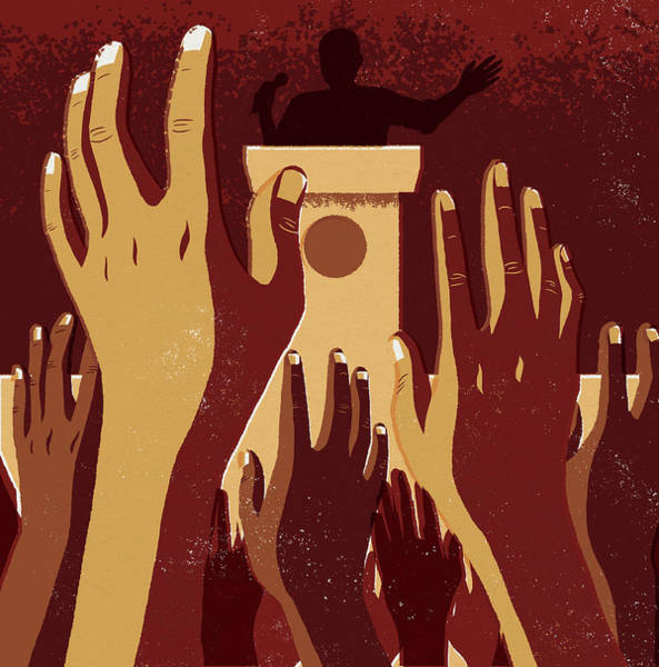 Public Speaker Photograph - Crowd With Hands Raised At Political by Ikon Images