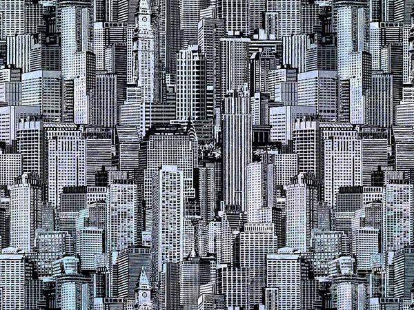 Wall Art - Digital Art - Crowded City by Peter Awax