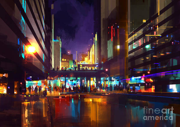 Buildings Digital Art - Crowds Of People At A Busy Crossing In by Tithi Luadthong