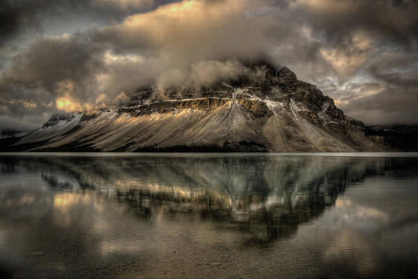 Bow River Wall Art - Photograph - Crowfoot Mountain Reflected Onto Bow by Howard Kilgour