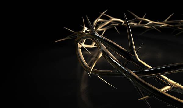 Crucifixion Digital Art - Crown Of Thorns Gold On Black by Allan Swart