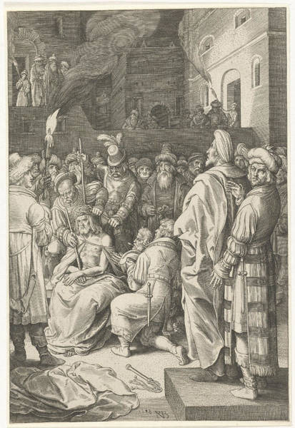 Bystander Drawing - Crowning With Thorns Of Christ, Nicolaes De Bruyn by Nicolaes De Bruyn