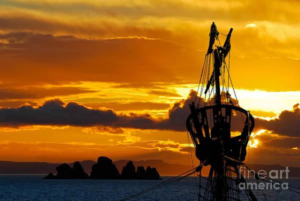 Photograph - Crows Nest Silhouette On Newfoundland Coast by Les Palenik