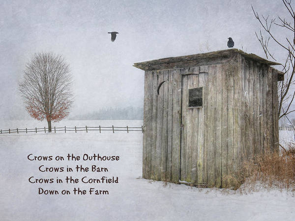 Wall Art - Photograph - Crows On The Outhouse by Lori Deiter