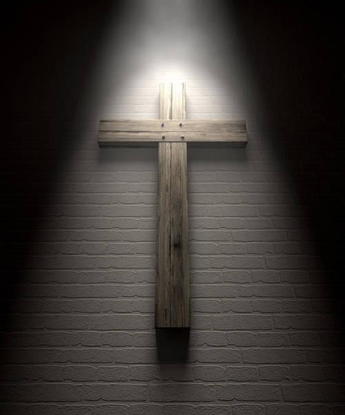 Crucifixion Digital Art - Crucifix On A Wall Under Spotlight by Allan Swart