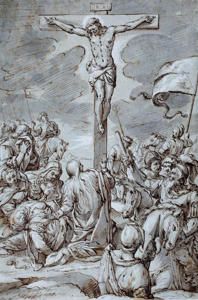 Gospel Drawing - Crucifixion by Johann or Hans von Aachen