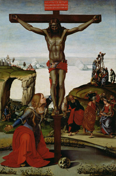 Golgotha Painting - Crucifixion With Mary Magdalene by Luca Signorelli