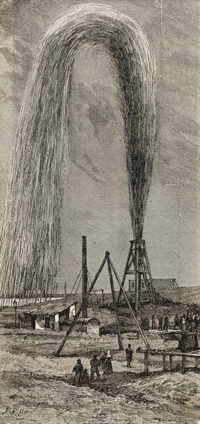 Oil Derrick Drawing - Crude Oil Jets From A Derrick  In Baku by Mary Evans Picture Library