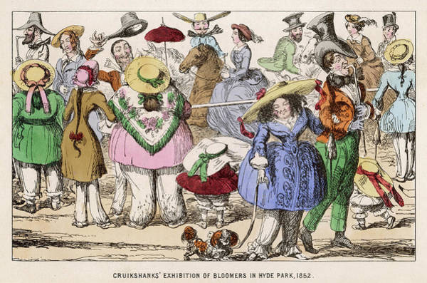 Wall Art - Drawing - 'cruikshank's Exhibition Of  Bloomers by Mary Evans Picture Library