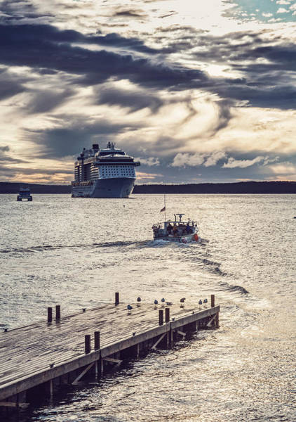 Wall Art - Photograph - Cruise Ship And Boat Near Pier, Bar by Chris Bennett