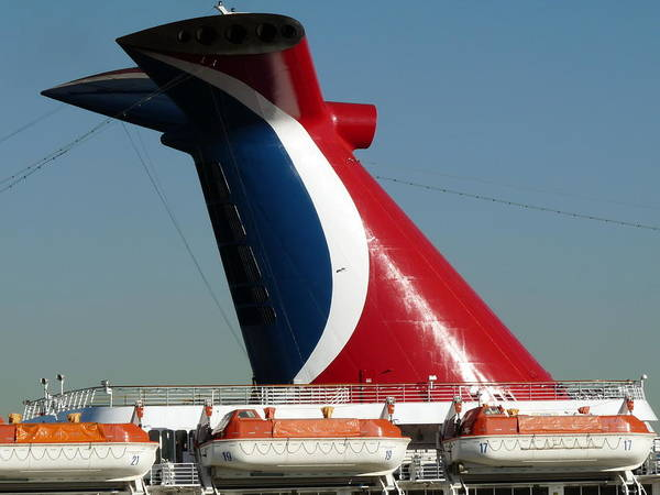 Photograph - Cruise Ship Exhaust Stack by Jeff Lowe