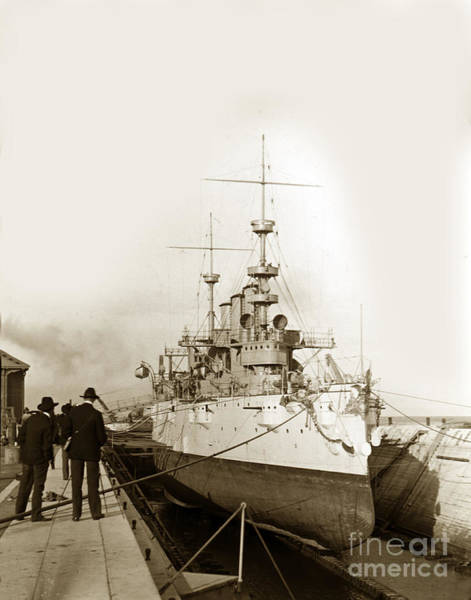 Photograph - Cruiser Uss New York Going Into Dry Dock San Francisco Circa 1903 by California Views Archives Mr Pat Hathaway Archives