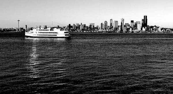 Elliot Bay Wall Art - Photograph - Cruising Elliott Bay Black And White by Benjamin Yeager