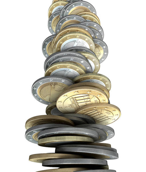 Financial Crisis Wall Art - Digital Art - Crumbling Coins by Allan Swart