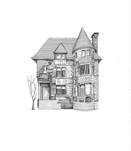 Crumble Drawing - Crumbling House by Addie Price