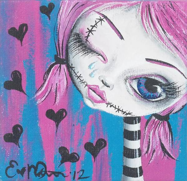 Voodoo Doll Painting - Crying Zombie by Oddball Art Co by Lizzy Love