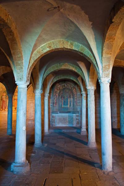 Crypt Photograph - Crypt Of San Pietro Church, Tuscania by Nico Tondini