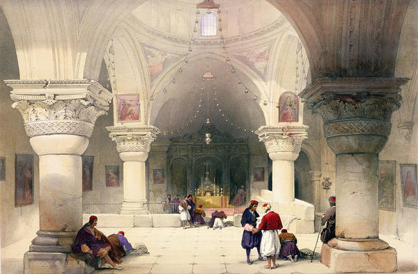 Columns Drawing - Crypt Of The Holy Sepulchre by David Roberts