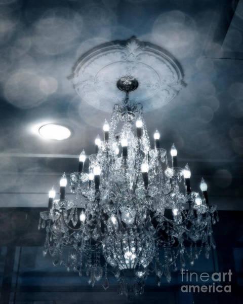 Chandelier Photograph - Crystal Chandelier Photo - Sparkling Twinkling Lights Elegant Romantic Blue Chandelier Photograph by Kathy Fornal