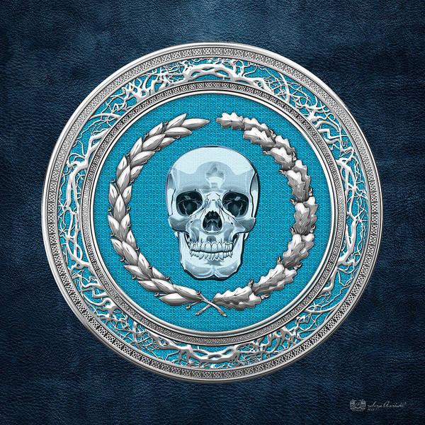 Digital Art - Crystal Human Skull On Blue by Serge Averbukh