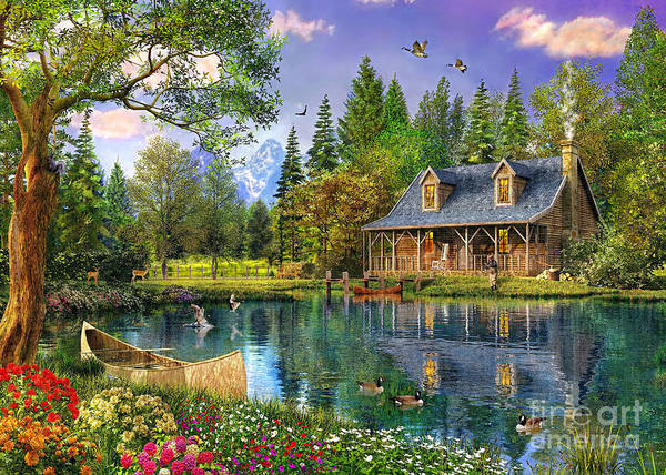 Blooms Digital Art - Crystal Lake Cabin by Dominic Davison