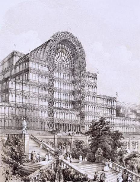 Structure Drawing - Crystal Palace At Sydenham, The Front by Thomas Hosmer Shepherd