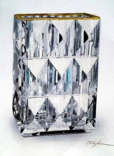 Leaded Glass Painting - Crystal Vase 2 by Cathy Jourdan