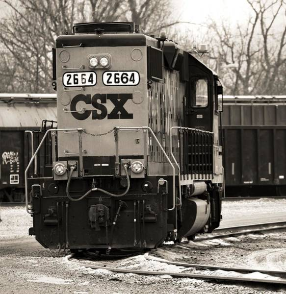 Photograph - Csx Train In Winter Sepia by Dan Sproul