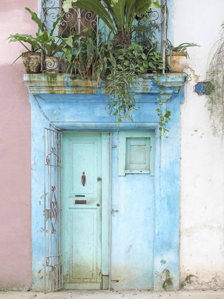 Photograph - Cuba - Aqua Blue Door Image Art By Jo Ann Tomaselli by Jo Ann Tomaselli