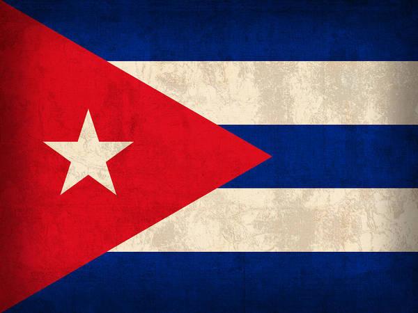 Cuba Flag Vintage Distressed Finish Art Print