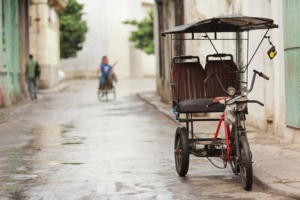 Cuba Wall Art - Photograph - Cuba, Havana, Havana Vieja, Pedal Taxi by Walter Bibikow
