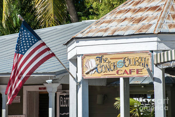 Conch Photograph - Cuban Cafe And American Flag Key West by Ian Monk