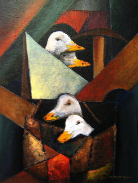 Painting - Cubed Geese by Val Byrne