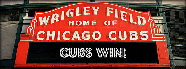 Hey Photograph - Cubs Win - Wrigley Sign by Stephen Stookey