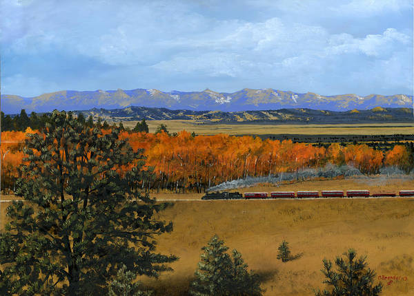 Wall Art - Painting - Cumbres And Toltec Christmas Steam Train by Cecilia Brendel