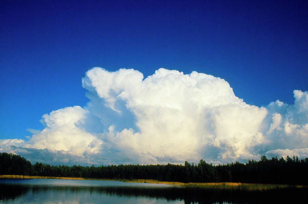 Anvil Photograph - Cumulonimbus Anvil Clouds Seen Approaching Lake by Pekka Parviainen/science Photo Library