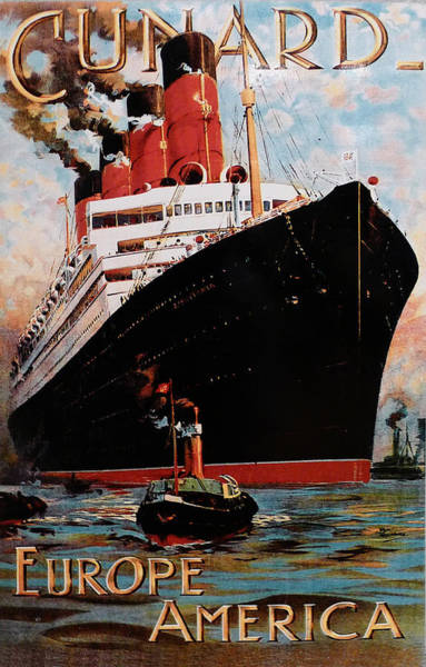 Photograph - Cunard  Poster From Europe To America by Richard Reeve