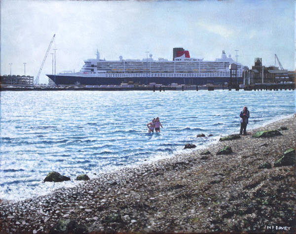 Wall Art - Painting - Cunard Queen Mary As Seen From Weston Shore by Martin Davey