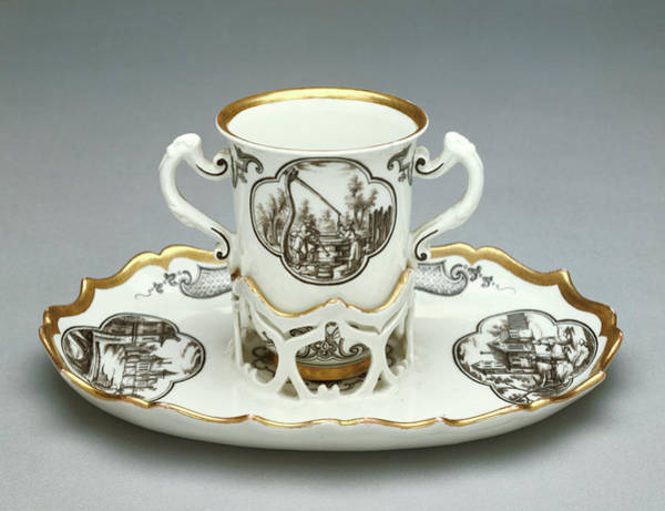 Saucer Drawing - Cup And Saucer Trembleuse Du Paquier Porcelain Manufactory by Litz Collection