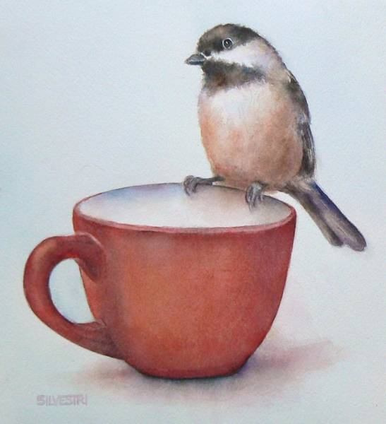 Coffee Painting - Cup O' Chickadee by Teresa Silvestri