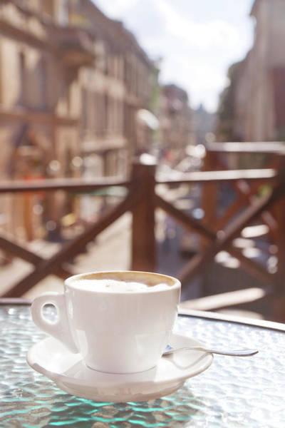 Patio Photograph - Cup Of Cappuccino In Outside Cafe by Mitshu
